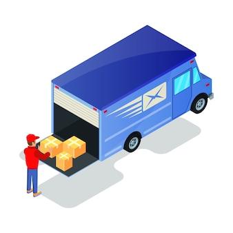 Lader in uniforme hijs kartonnen dozen met goederen naar bestelwagen. verhuizer of chauffeur afhandeling, pakketten klaarmaken voor transport in vrachtwagen. online winkelen, levering, verzending concept. isometrisch op wit.