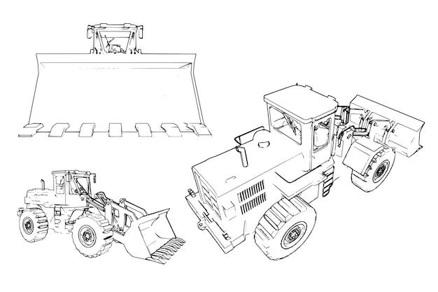 Lader voor bouwmachines. veel vectorafbeeldingen vanuit verschillende hoeken. de machine wordt weergegeven door contourlijnen.
