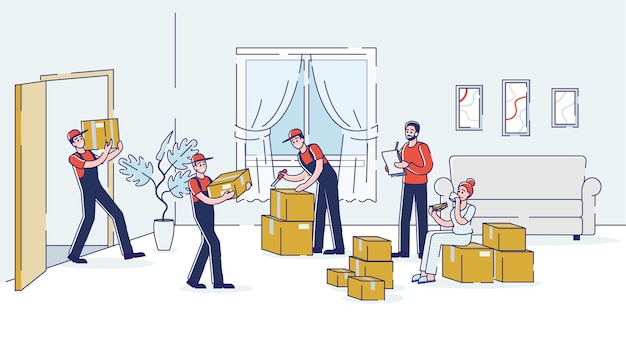 Laders dragen dozen in de woonkamer van een nieuw huis tijdens het verhuizen van het huis