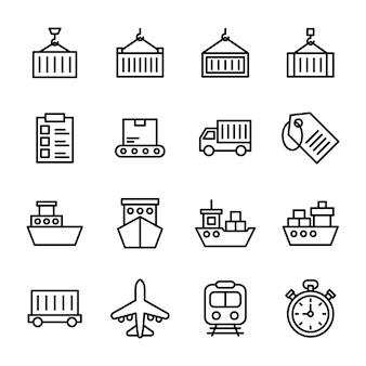 Lading container lijn pictogrammen pack