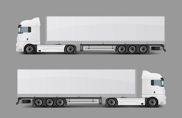 Lading semi vrachtwagen met trailer realistische vector