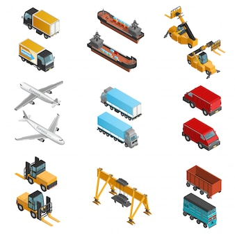 Lading transport isometrische icons set