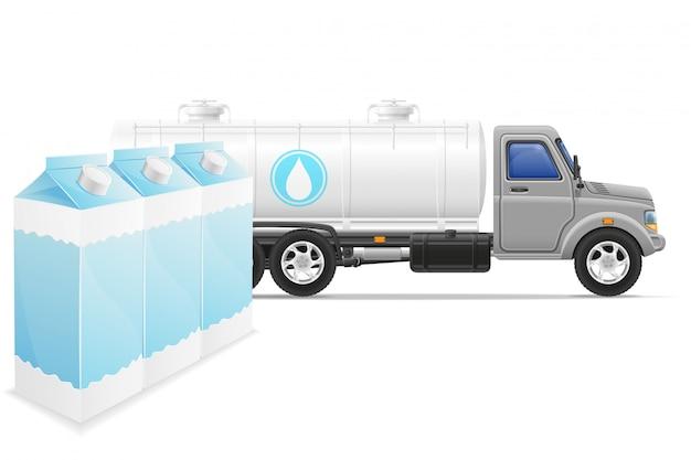 Lading vrachtwagen levering en transport van melk concept vectorillustratie