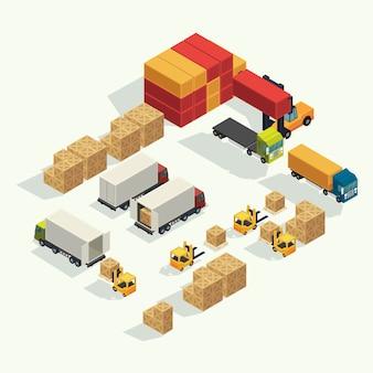 Ladingslogistiekvrachtwagen en vervoerscontainer met opheffende de ladingscontainer van de vorkheftruck in verschepende werf. isometrische illustratie vector