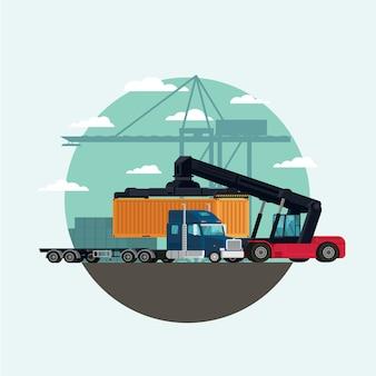 Ladingslogistiekvrachtwagen en vervoerscontainer met opheffende de ladingscontainer van de vorkheftruck in verschepende werf