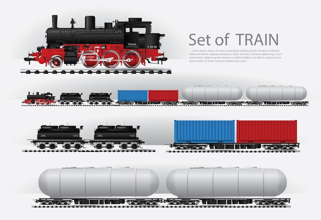 Ladingstrein op een illustratie van de spoorweg