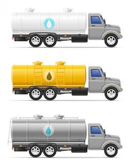 Ladingsvrachtwagen met tank voor het vervoeren van vloeistoffen vectorillustratie