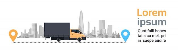 Ladingsvrachtwagen over silhouetstad op route. vervoer en levering service concept horizontale banner