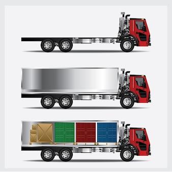 Ladingsvrachtwagens vervoer geïsoleerde vectorillustratie