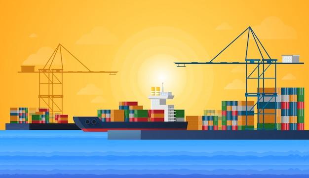Ladingzeehaven met ladings vrachtschepen
