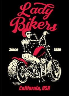 Lady biker chopper motorfiets t-shirt ontwerp