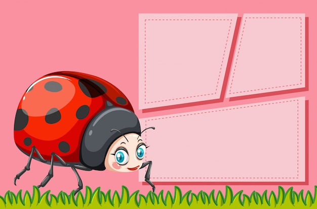 Lady bug op notitie sjabloon