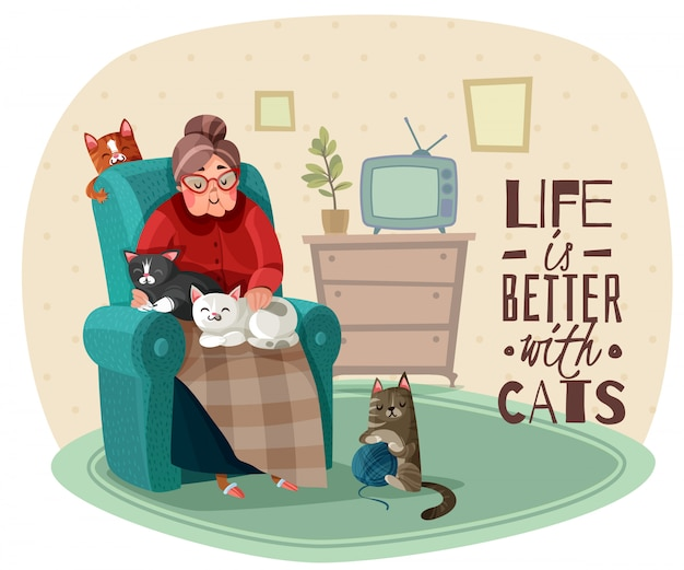 Lady in armchair cats illustratie