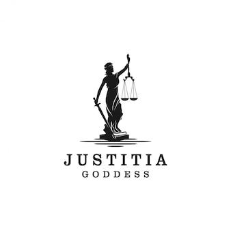 Lady justice, justitia godin silhouet logo voor advocaat en wet
