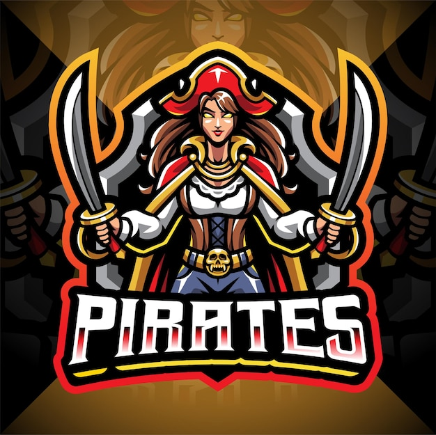 Lady pirates esport mascotte logo ontwerp