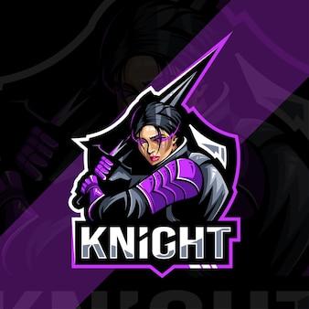 Lady ridder mascotte esport sjabloon embleemontwerp