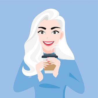Lady stripfiguur in herfst en winter kleding met kopje koffie in handen