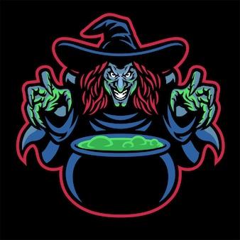 Lady witch-mascotte die het drankje kookt