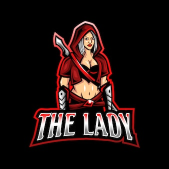 Lady zwaard mascotte logo esport gaming