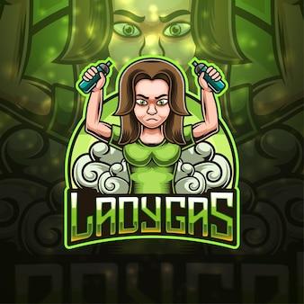 Ladygas esport mascotte logo ontwerp