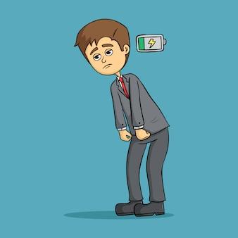 Lage battrey zakenman met droevig gezicht op blauwe achtergrond