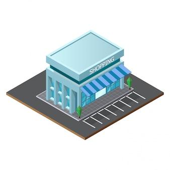 Lage poly supermarkt winkel gebouw.