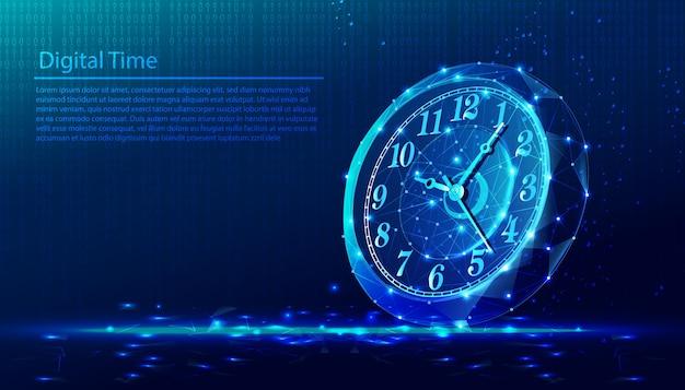 Lage poly veelhoekige achtergrond van tijd, ronde horloge.