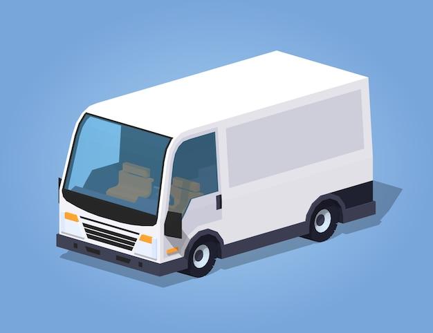 Lage poly witte bestelwagen