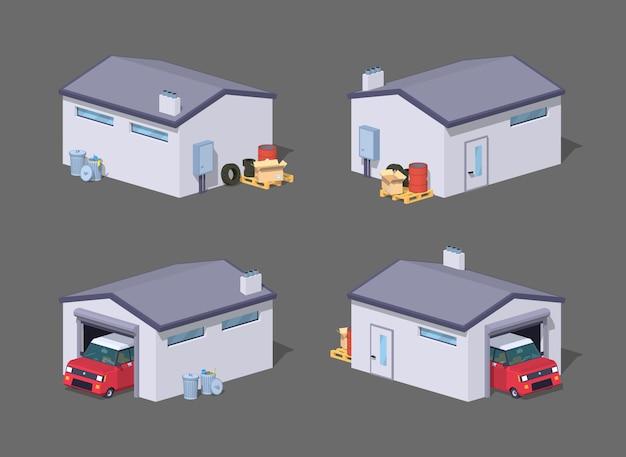 Lage poly witte garage en rode auto