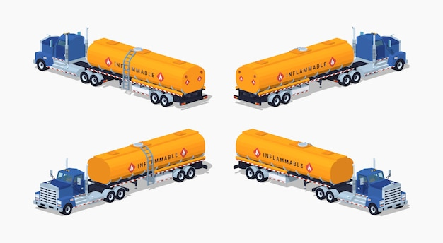 Lage polyblauwe vrachtwagen met de oranje brandstoftank