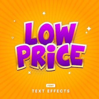 Lage prijs headline tekststijl effect sjabloon