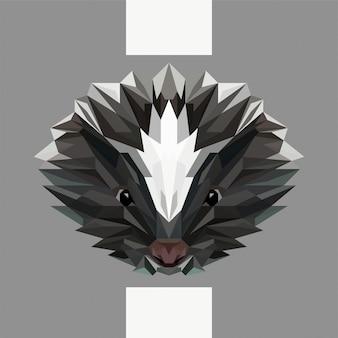 Lage veelhoekige skunk hoofd vector