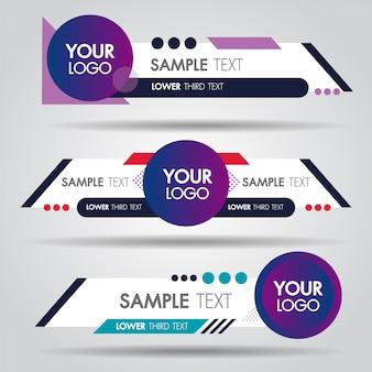 Lagere derde witte en kleurrijke ontwerpsjabloon moderne tijdgenoot. set van banners balk scherm