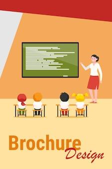 Lagere schoolklas. gelukkig leraar les uit te leggen aan kinderen op schoolbord platte vectorillustratie. basisschool, onderwijsconcept