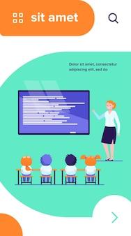 Lagere schoolklas. gelukkig leraar les uit te leggen aan kinderen op schoolbord platte vectorillustratie
