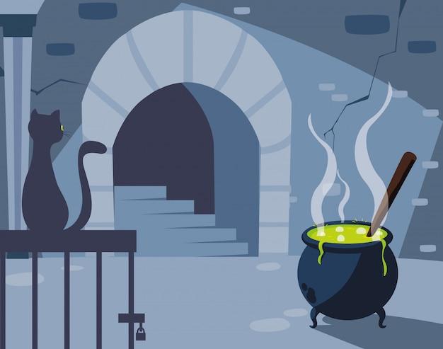 Lairscène met zwarte kat en ketel