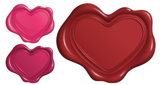 Lakzegel stempel in hartsymbool vorm
