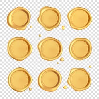 Lakzegelcollectie. gouden stempel lakzegel set met druppels geïsoleerd op transparante achtergrond. realistische gegarandeerde gouden postzegels.