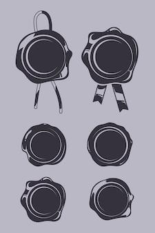 Lakzegels zwarte vectorsjablonen set