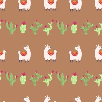 Lama alpaca naadloos patroon met cactus vectorillustratie van kinderdagverblijfkarakters in beeldverhaalstijl