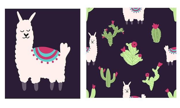 Lama alpaca naadloos patroon met cactus vectorillustratie van kinderkamerkarakter in kinderachtige stijl