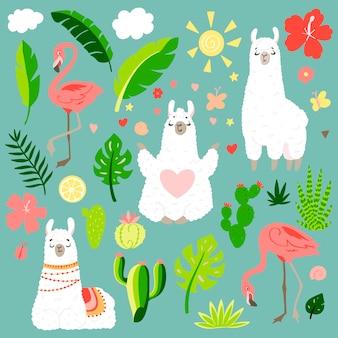 Lama in cartoonstijl. stickers. hand getekende illustratie. elementen voor wenskaart, poster, banners. ontwerp van t-shirt, notitieboekje en sticker