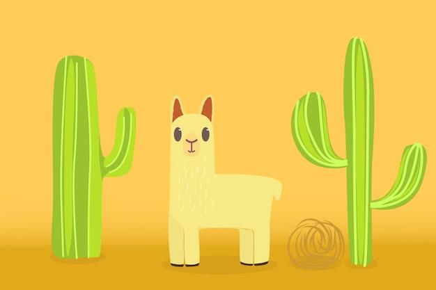 Lama in de woestijn met een achtergrond van cactussen en rollende planten