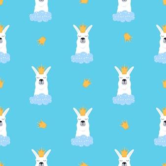 Lama in een gouden kroon en wolken naadloos patroon. schattige alpaca. kinderachtige print voor kinderkamer, poster, t-shirt.