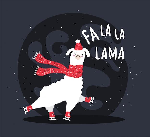 Lama met sneeuw en veel details. grappige alpaca herten. fa la la lama.