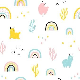 Lama's met regenbogen, cactussen naadloos patroon. kleurrijke stripfiguur in scandinavische stijl eenvoudige hand getekende kinderachtig stijl geïsoleerd op een witte achtergrond. ideaal voor babykleding, babykleding, textiel.