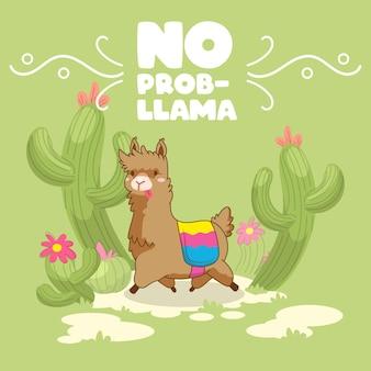 Lama schattig citaat, geen prob lama, lama vectorillustratie
