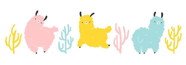 Lama set met cactussen. kleurrijke stripfiguur in scandinavische stijl eenvoudige hand getrokken stijl. geïsoleerde vector op witte achtergrond. ideaal voor kinderdagverblijf, ansichtkaart, poster.
