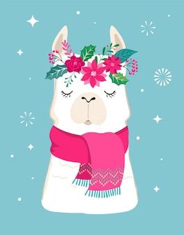 Lama winter, schattig voor kinderkamer, poster, vrolijk kerstfeest, verjaardagswenskaart
