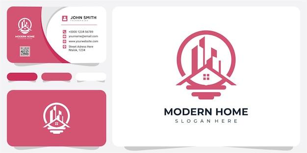 Lamp home logo home idea logosmart huis creatieve logobuilding home idee logo ontwerpconcept met